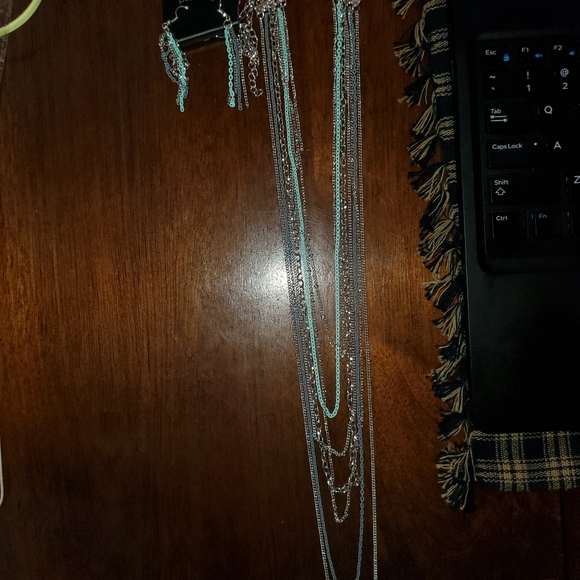 Long teal/blue chain necklace